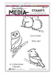 Ranger - Dina Wakley Media - Cling Stamps - Scribbly Birds on Branches